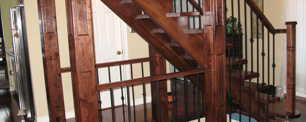 Customer hardwood stairs project - completed in Oakville by Stairs 2 U